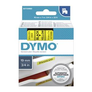 Dymo D1 19mm Black/Yellow labels 45808
