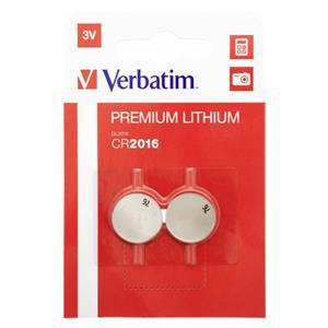1x2 Verbatim CR 2016 Lithium Lithium Battery           49934
