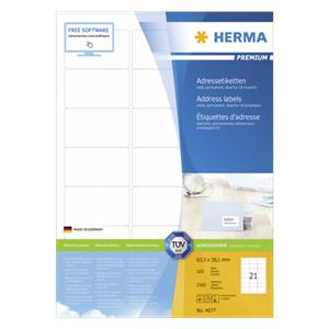 Herma Address Labels   63,5x38,1 100 Sheets DIN A4 2100 pcs. 4677