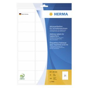 Herma Perforated Labels    67X38 20 Sheets DIN A4 420 pcs. 4431