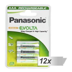 12x4 Panasonic Accu NiMH Micro AAA 750 mAh Rechargeable Evolta