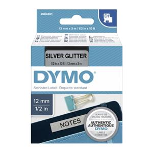 Dymo D1 Label   12 mm x 3 m black to silver
