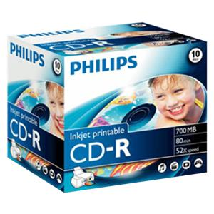 1x10 Philips CD-R 80Min 700MB 52x IW JC