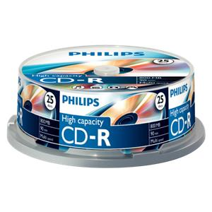 1x25 Philips CD-R 90Min 800MB 40x SP