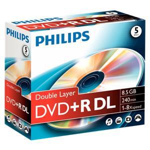1x5 Philips DVD+R 8,5GB DL 8x JC