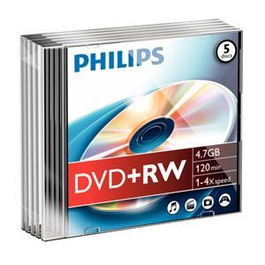 1x5 Philips DVD+RW 4,7GB