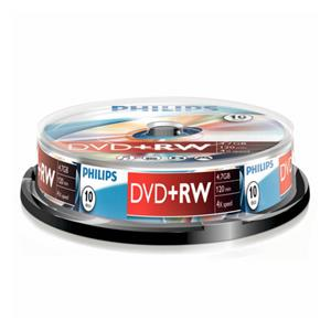 1x10 Philips DVD+RW 4,7GB 4x SP