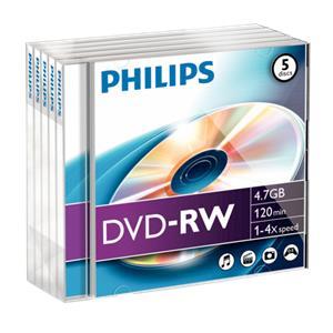 1x5 Philips DVD-RW 4,7GB 4x JC