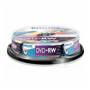 1x10 Philips DVD-RW 4,7GB 4x SP