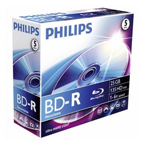 1x5 Philips Blu-Ray Recordable 25GB 6x JC