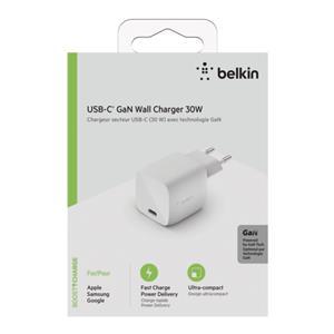 Belkin USB-C Charger 30W GaN, white WCH001vfWH