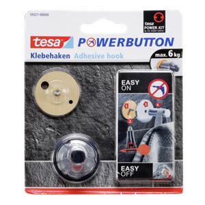 Tesa Powerbutton Klebehaken 3 cm chrom für max. 6 kg