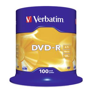1x100 Verbatim DVD-R 4,7GB 16x Speed, matt silver