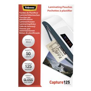Fellowes Glossy 125 Micron 50pcs Card Laminating Pouch - 54x86 mm