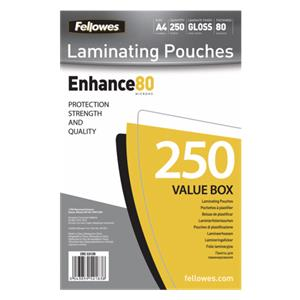 Fellowes A4 Glossy 80 Micron Laminating Pouch - 250-pack